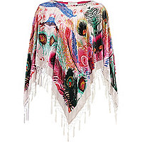 White feather devore cape