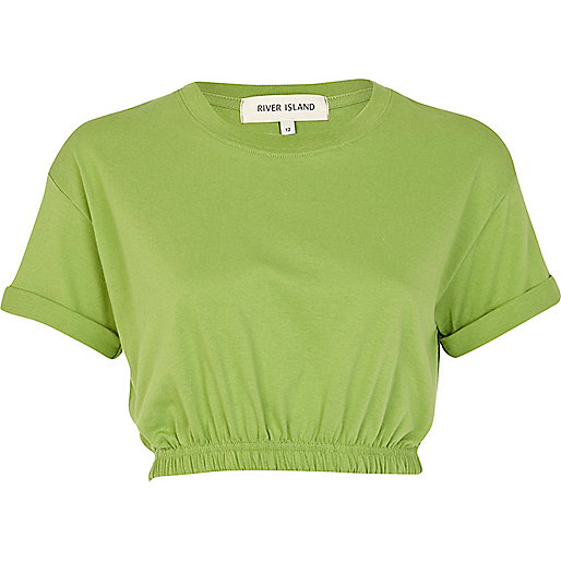 Green elasticated hem cropped t-shirt
