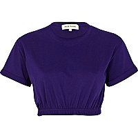 Purple elasticated hem cropped t-shirt