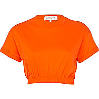 Bright orange elasticated hem cropped t-shirt
