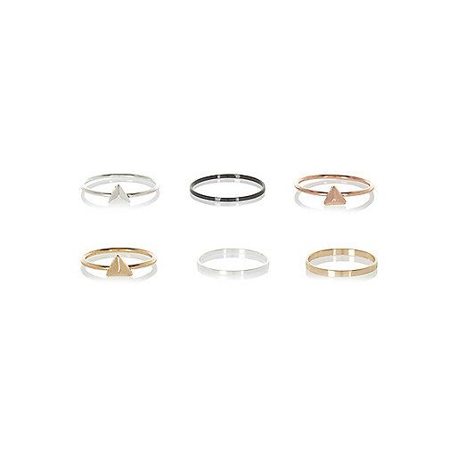 Mixed metal thin stacking rings pack