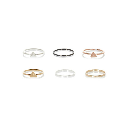 Mixed metal thin stacking rings pack