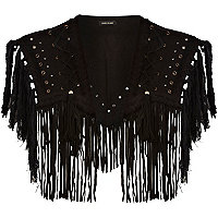 Black eyelet fringed cape