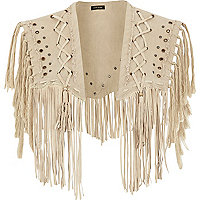 Cream eyelet fringed cape