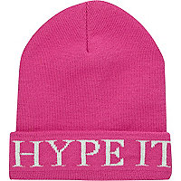 Pink hype it beanie hat