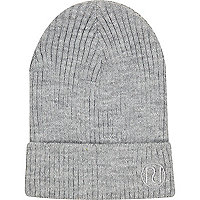 Grey ribbed knit beanie hat