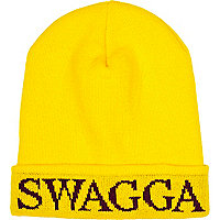Bright yellow swagga beanie hat