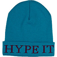 Turquoise hype it beanie hat
