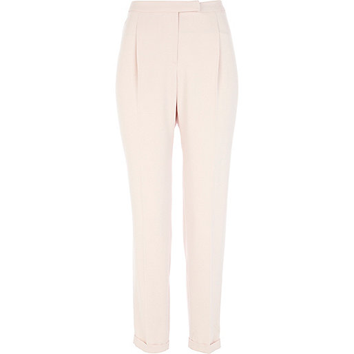 Light pink soft tapered trousers