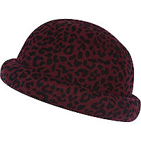 Dark red animal print bowler hat