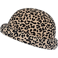 Beige animal print bowler hat