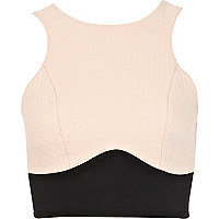 Pink colour block racer front crop top