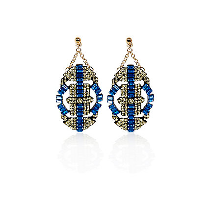 Blue gem stone deco drop earrings