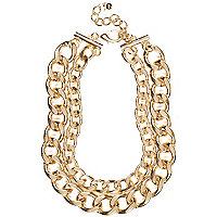 Gold tone chunky double curb chain