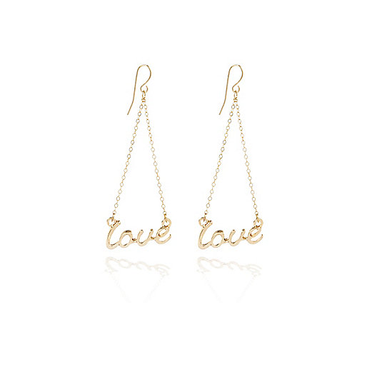 Gold tone suspended love earrings