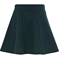 Dark green ponte skater skirt