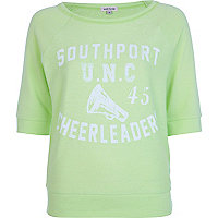 Light fluro green cheerleader print sweat top