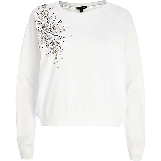 White embellished sweatshirt