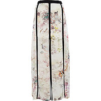 White floral print split panel maxi skirt