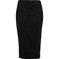 Black embossed scuba pencil skirt