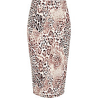 Beige animal print textured tube skirt