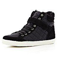 Black quilted panel high tops