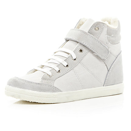 White shearling lined high tops