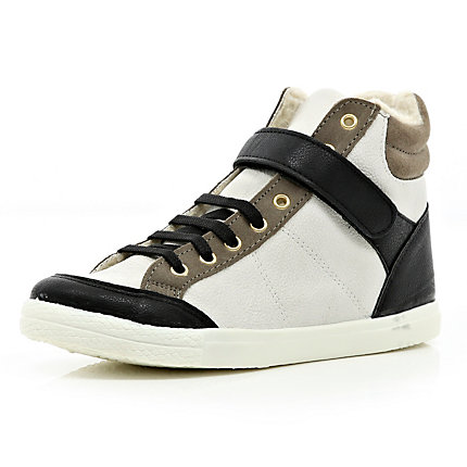 Navy colour block shearling lined high tops