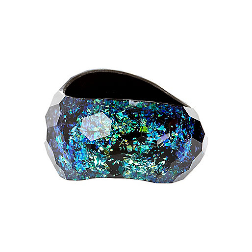 Blue iridescent curved bangle