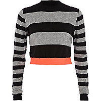 Black stripe turtle neck crop top