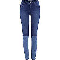 Mid wash two-tone Amelie superskinny jeans