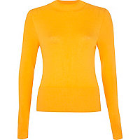 Bright yellow high neck rib top