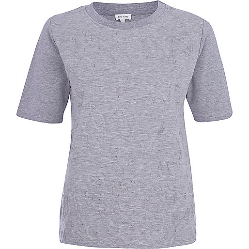 Grey embossed front t-shirt