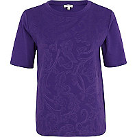 Purple embossed front t-shirt
