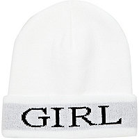 White girl beanie hat