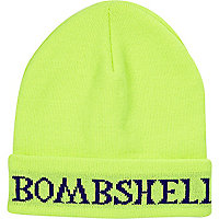 Bright yellow bombshell beanie hat