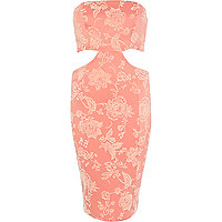 Coral print cut out bandeau bodycon dress