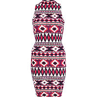Red aztec print turtle neck bodycon dress