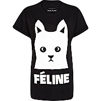 Black feline cat print t-shirt
