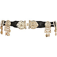 Black metal plate tassel belt