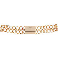 Gold tone double chain belt