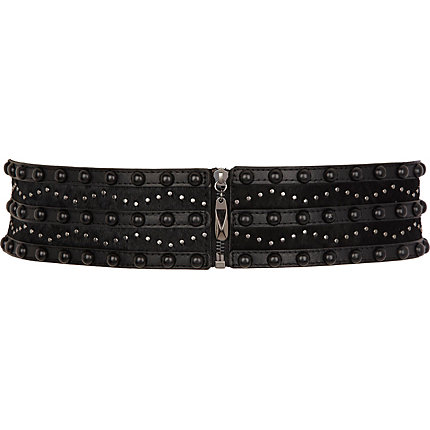 Black pony skin studded waist belt