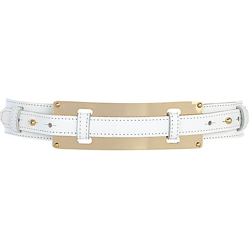White metal plate waist belt