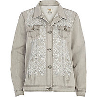 Light grey heat seal denim jacket