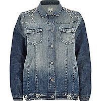 Mid wash embellished denim jacket