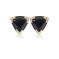 Black triangle diamante stud earrings