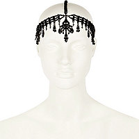 Black crystal embellished crown headband