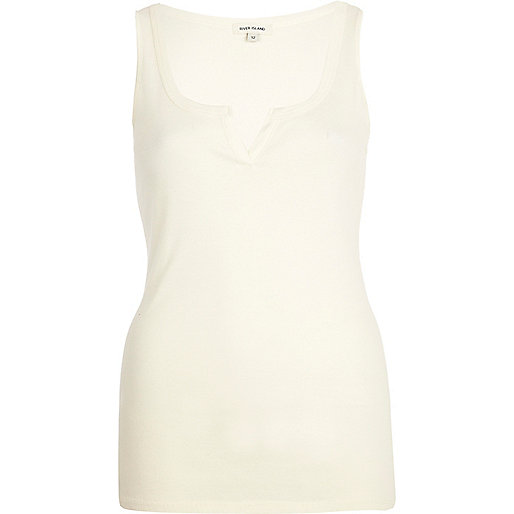 Cream notch neck rib vest
