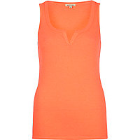 Orange notch neck rib vest