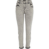 Grey ikat turn up Amelie superskinny jeans